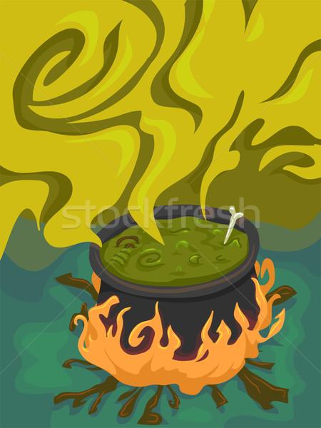 Halloween calderone illustrazione strano cuoco vacanze Foto d'archivio © lenm