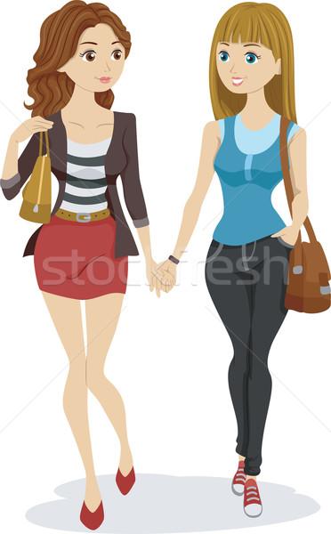 Сток-фото: лесбиянок · пару · иллюстрация · , · держась · за · руки · подростков