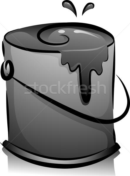 Czarno białe wiadro ilustracja projektu farby czarno-białe Zdjęcia stock © lenm