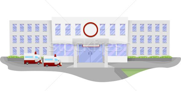 Kórház illusztráció nagy vár parkolóhely egészség Stock fotó © lenm