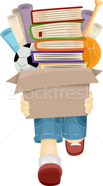 Boy Carrying Books Stock photo © lenm