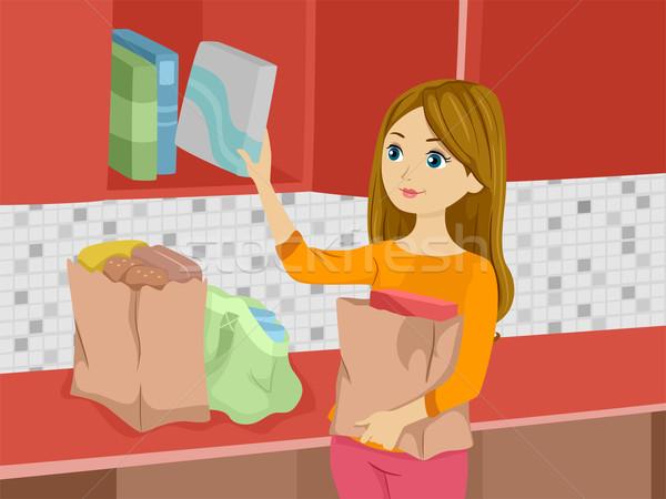 продуктовых девушки иллюстрация шкаф женщину Сток-фото © lenm