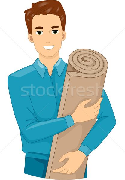 Szigetelés hab illusztráció férfi tart zsemle Stock fotó © lenm