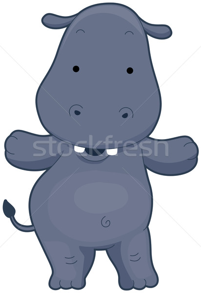 Cute Hippo Stock photo © lenm