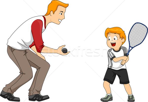 Fallabda játék illusztráció apa fia játszik férfi Stock fotó © lenm