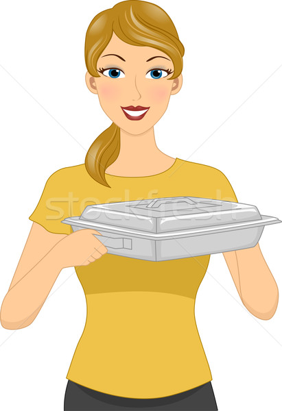 Girl Catering Food Warmer Stock photo © lenm