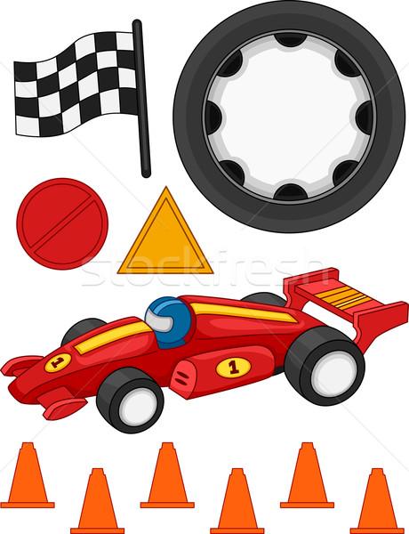 Stock fotó: Versenyautó · elemek · illusztráció · különböző · autó · versenyzés