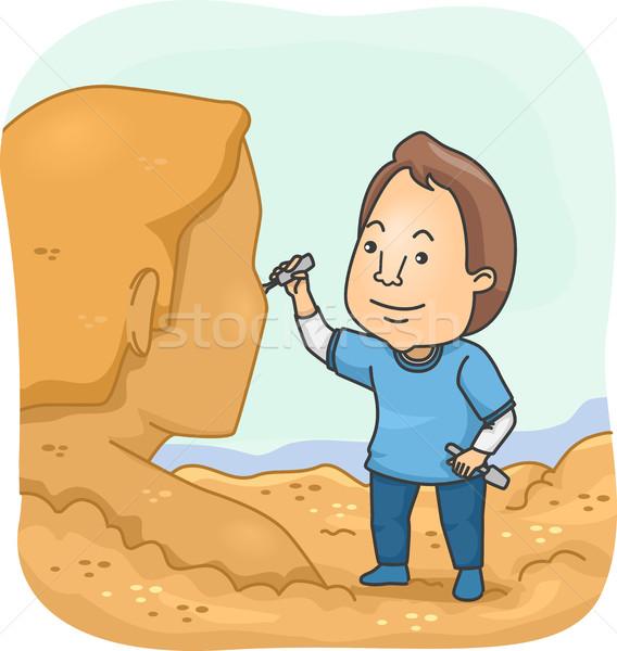Homme sable sculpteur illustration humaine chiffre Photo stock © lenm
