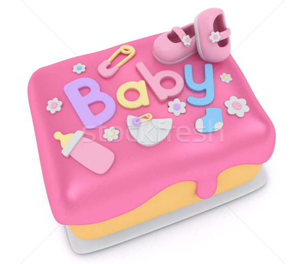 Stock foto : 3D Illustration of a Cake for a Baby Girl Shower