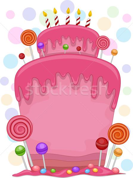 Bolo de aniversário ilustração decorado aniversário celebração bonitinho Foto stock © lenm