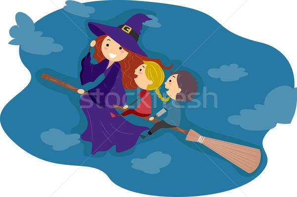 Cabo de vassoura ilustração crianças equitação criança menino Foto stock © lenm