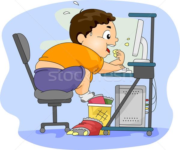 избыточный вес мальчика еды иллюстрация компьютер здоровья Сток-фото © lenm
