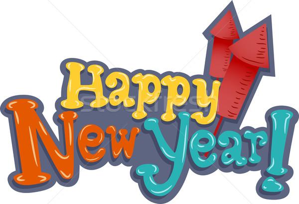 új év illusztráció üdvözlet vmi mellett mini ünneplés Stock fotó © lenm