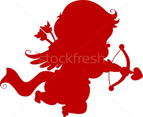 силуэта лук стрелка красный ребенка свадьба Сток-фото © lenm