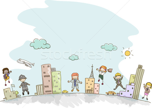 Stock photo: Stickman Kids Professions