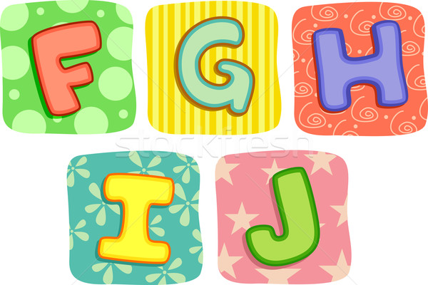 Quilt Alphabet Letters F G H I J Stock photo © lenm