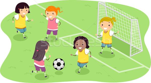 Stickman Girls Soccer Stock photo © lenm