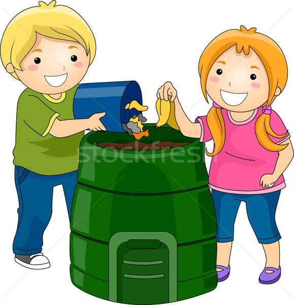 Tároló gyerekek illusztráció kicsi szemét lány Stock fotó © lenm