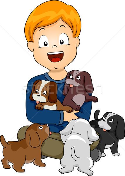 Dog Lover Kid Stock photo © lenm