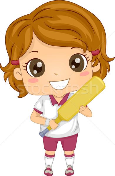 Kriket kız örnek dişli spor genç Stok fotoğraf © lenm