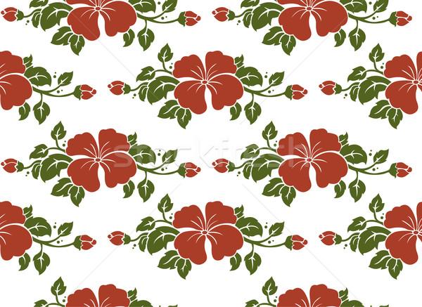 シームレス ダマスク織 パターン 花 デザイン 背景 ストックフォト © lenm