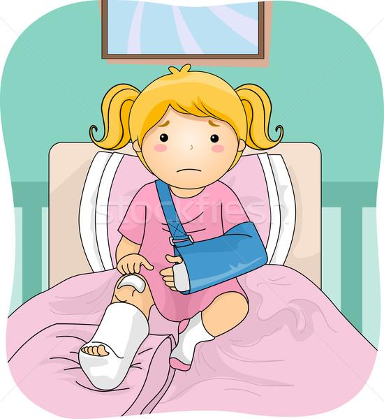 раненый девушки иллюстрация ногу медицинской Сток-фото © lenm
