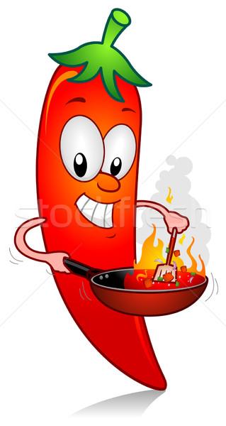 çili pişirmek örnek karakter pişirme meyve Stok fotoğraf © lenm
