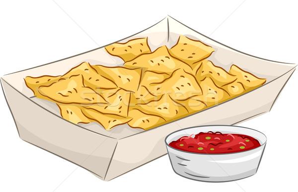 ナチョス サルサ 実例 プレート ボウル メキシコ料理 ストックフォト © lenm