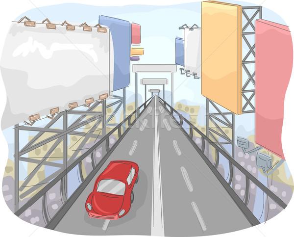 Billboards weg illustratie stad lijn reus Stockfoto © lenm