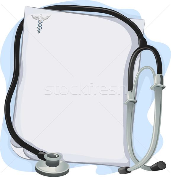 Stetoskop tıbbi reçete çerçeve örnek arka plan Stok fotoğraf © lenm