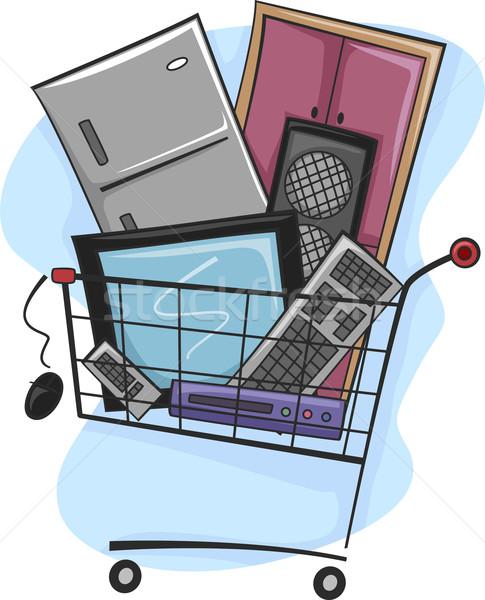 ストックフォト: ショッピング · 実例 · ショッピングカート · フル · テレビ