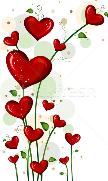 Stockfoto: Liefde · illustratie · planten · bloemen · cartoon