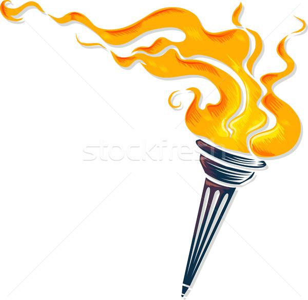 Antorcha llamas ilustración fuego diseno deportes Foto stock © lenm