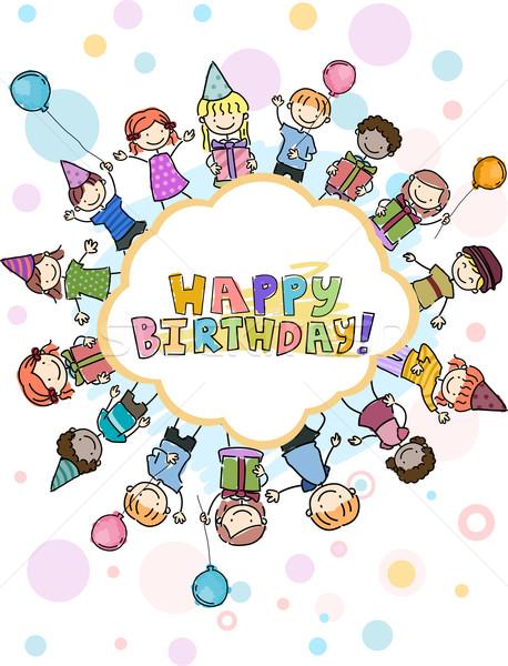 Foto stock: Aniversário · rabisco · ilustração · crianças · saudação