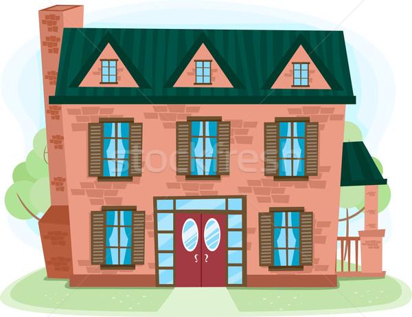 Cegły domu ilustracja domu architektury konkretnych Zdjęcia stock © lenm