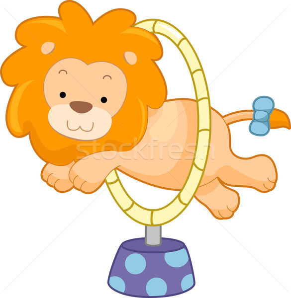 Circus Lion Jumping Through Hoop Sideview Stock photo © lenm
