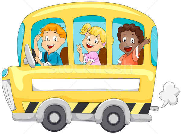 Gyerekek iskolabusz vágási körvonal iskola gyerekek diákok Stock fotó © lenm