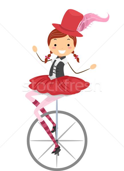 Unicycle Circus Girl Stock photo © lenm
