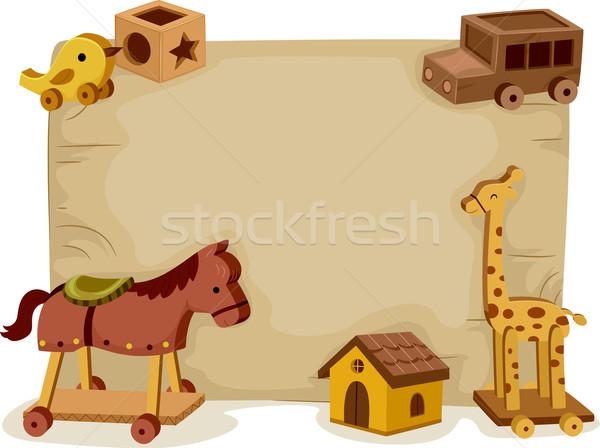 Bois jouets fond illustration assortiment bois Photo stock © lenm