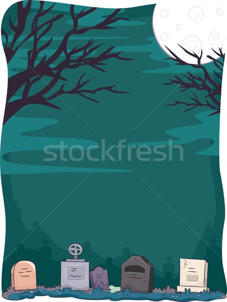 Хэллоуин кладбище иллюстрация дизайна фон портрет Сток-фото © lenm