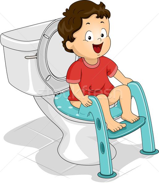 Assento ilustração pequeno menino sessão criança Foto stock © lenm