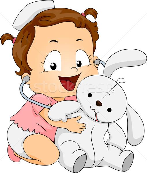 Baby Girl Nurse Stock photo © lenm