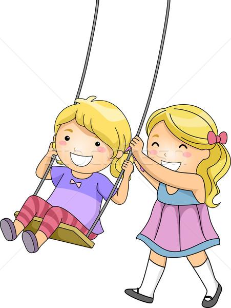 Soeur Swing illustration petite fille poussant fille Photo stock © lenm