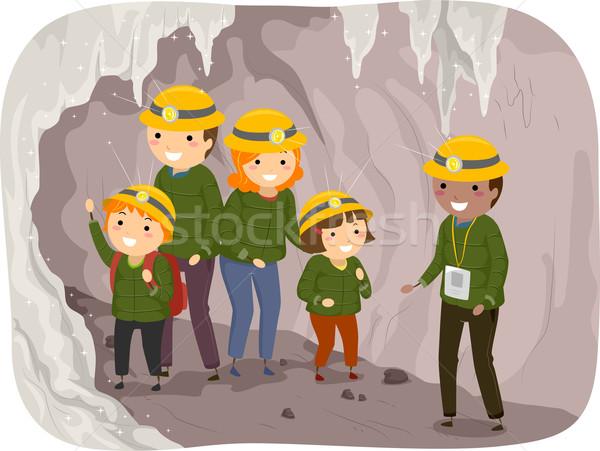 Caverna tour família ilustração criança educação Foto stock © lenm