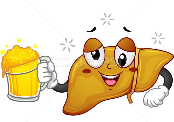 Drunk Liver Mascot Stock photo © lenm