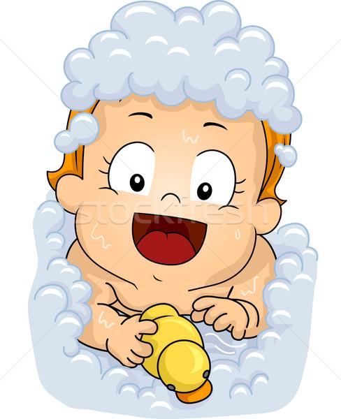 赤ちゃん 実例 女性 演奏 ゴム 泡風呂 ストックフォト © lenm