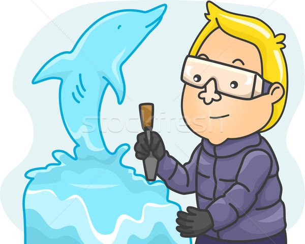 氷 彫刻家 実例 男 彫刻 ストックフォト © lenm