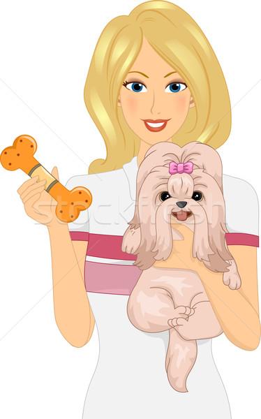Játék lány illusztráció nő hordoz kutya Stock fotó © lenm