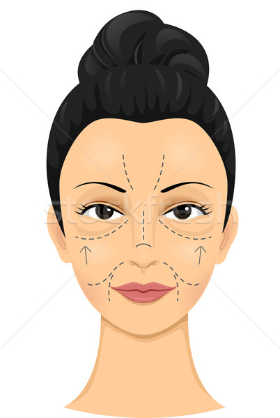 Girl Face Incision Lines Stock photo © lenm