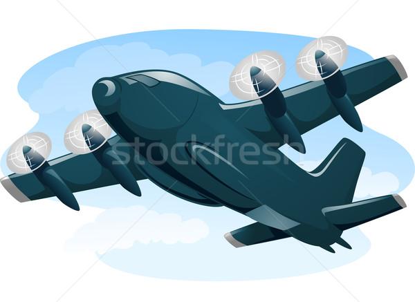 Vracht vliegtuig illustratie vlucht militaire vliegen Stockfoto © lenm